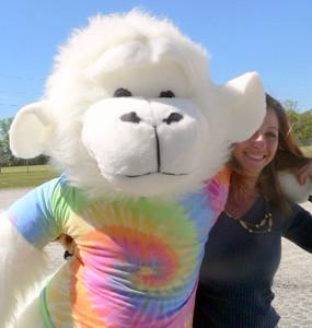 American Made 6 Feet tall Giant Groovy Hippie Stuffed Gorilla Monkey wearing Rainbow Tie Dye T-Shirr