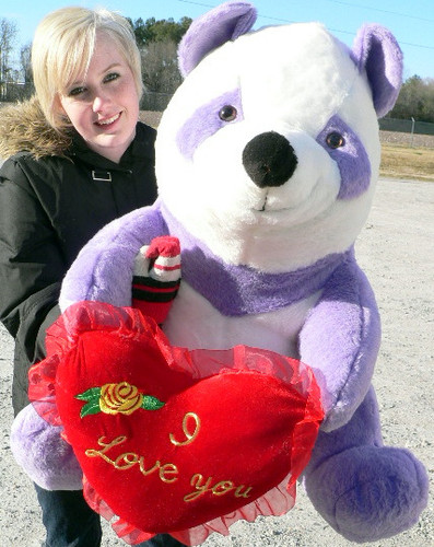 american made giant stuffed purple panda bear 32 inch holds i love you heart