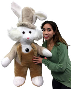 American Made Giant Stuffed Bunny Rabbit Wearing Tuxedo 4 Feet Tall Brown Pants Big Plush Rabbit