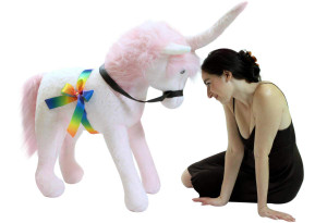 American Made Giant Stuffed Unicorn White and Pink 3 Feet Wide Soft Made in USA
