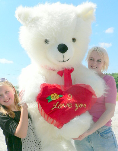 American Made Giant Valentines Day Teddy Bear 54 Inch Soft Holds I LOVE YOU  Heart Pillow
