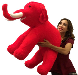 American Made Large Stuffed Red Elephant 36 Inch Big Plush Animal Made in USA America