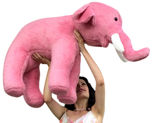 american made giant stuffed pink elephant 3 feet long soft large stuffed animal big plush. Black Bedroom Furniture Sets. Home Design Ideas