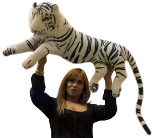 Realistic Giant Stuffed White Tiger 32 Inches Long Body Plus 18 Inch Tail High Quality Soft Plush Siberian Tiger