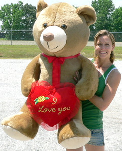 American Made Giant Teddy Bear 5 Foot Soft Brown, Holds I Love You Heart Pillow, Made in USA