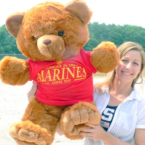 U.S. Marines Giant Military Teddy Bear wearing Red T-Shirt SOMEONE IN THE MARINES LOVES YOU