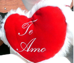 ADD A BIG PLUSH Spanish Language TE AMO HEART - WE WILL ATTACH IT TO YOUR STUFFED ANIMAL (NO Personalization)