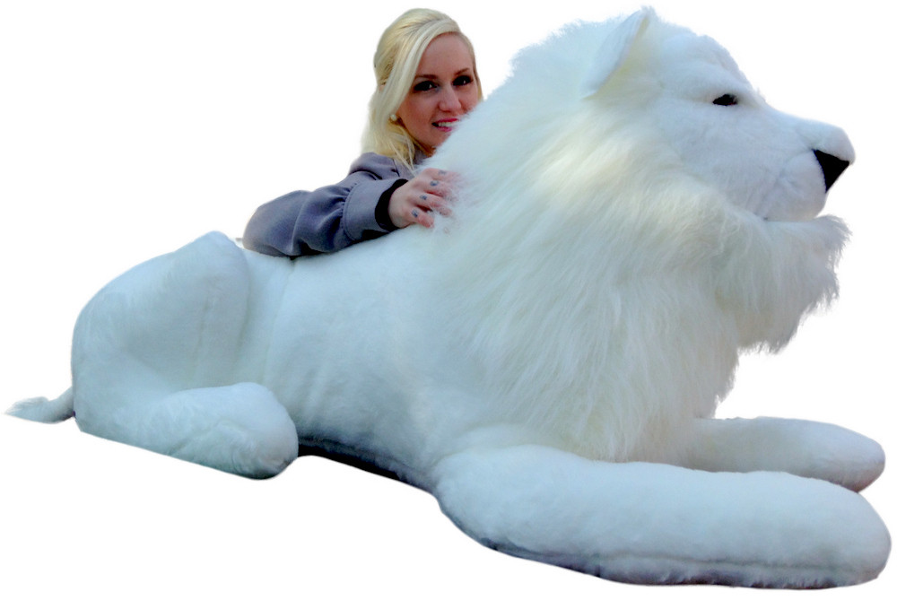 american made giant stuffed white lion 48 inches soft made in usa america big plush. Black Bedroom Furniture Sets. Home Design Ideas