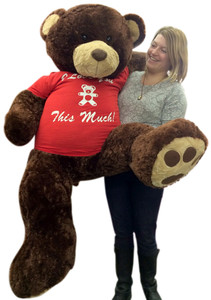 Giant 5 Foot Romantic Teddy Bear Soft Brown 60 Inch, Wears Removable T-shirt I LOVE YOU THIS MUCH