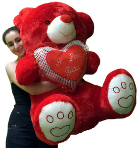 Giant Valentines Day Red Teddy Bear Soft with Bigfoot Paws Holds I LOVE YOU Heart Pillow