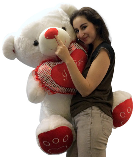 Giant Valentines Day Teddy Bear Soft White Oversized Plush Holds I LOVE YOU  Heart Pillow