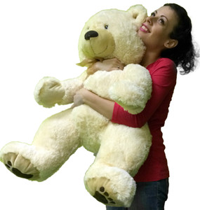 Big Soft Teddy Bear 3 feet tall Big Belly and Big Foot Paw Prints 36 Inches Tall Squishy Soft White Color Stuffed by Hand in the USA