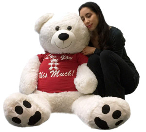Giant 4 Foot Teddy Bear 48 Inches Soft White I LOVE YOU THIS MUCH