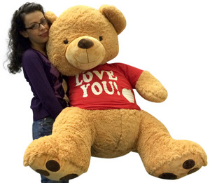 Giant 4 Foot Teddy Bear Wearing Removable Tshirt I Love You, Brown Soft 48 Inch Teddybear