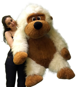 Extra Large Stuffed Monkey with Size 51 Inches Waist Long Fur Big Plush Gorilla Ape Plushie Pal 4 Feet Tall and 3 Feet Wide and 2 and a Half Feet Deep White Color
