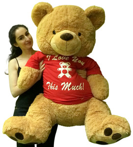 Giant Teddy Bear 4 Foot Soft New, Wears Tshirt I Love You This Much