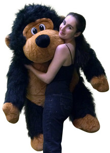 Extra Large Stuffed Monkey with Size 51 Inches Waist Long Fur Big Plush Gorilla Ape Plushie Pal 4 Feet Tall and 3 Feet Wide and 2 and a Half Feet Black Color