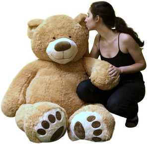 Big Plush Giant Teddy Bear Five Feet Tall Tan Color Soft Smiling Big Teddybear 5 Foot Bear