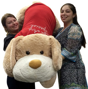 Giant Plush Puppy 60 Inch Huge Soft 5 Foot Stuffed Dog Wears Removable T-Shirt You Are Special