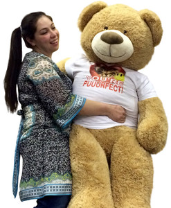 Romantic Giant 5 Foot Teddy Bear Soft 60 Inch, Wears Removable Cat T-Shirt that Says YOU ARE PUUURFECT