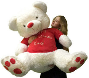 Giant 4 Foot Teddy Bear Soft White 48 Inches, Wears HAPPY VALENTINE'S DAY T-Shirt