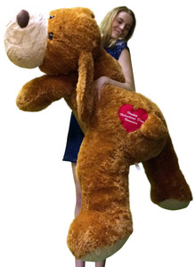 Personalized with Custom Embroidery Big Plush Puppy Dog 5 Feet Long Squishy Soft Your Message Custom Embroidered on Heart Right on His Butt