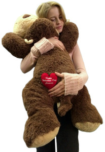 Personalized with Custom Embroidery Big Plush Monkey 3 Feet Long Squishy Soft Your Message Custom Embroidered on Heart Right on His Butt