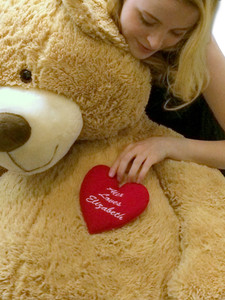 His Name Loves Her Name Embroidered Personalized Giant 5 Foot Teddy Bear Custom Name Embroidery on Chest of Five Feet Tall Soft Big Romantic Bear