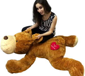 Personalized Romantic Giant Stuffed Brown Dog 5 Feet Long Custom Embroidered 2 Names on Heart