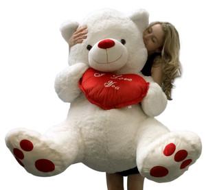 I Love You 4 ft Giant Teddy Bear 48 Inch Soft Teddybear, Holds I Love You Heart Pillow