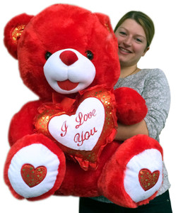 Big Red Teddy Bear 30 Inch Soft Huge Stuffed Animal, Holds I LOVE YOU Heart Pillow