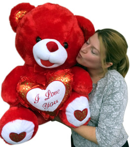 Big Red Teddy Bear 30 Inches Soft with Bigfoot Paws, Holds I LOVE YOU Heart Pillow