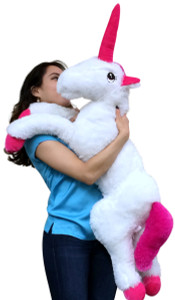 Big Stuffed Unicorn 36 inches Long Squishy Soft Large Plush Animal White Color with Pink Horn and Feet