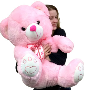 Giant Pink Teddy Bear 30 Inch Soft with Embroidered Paws Big Plush Animal