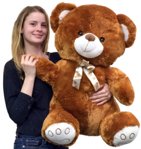 Giant Brown Teddy Bear 30 Inch Soft with Embroidered Paws Big Plush Animal