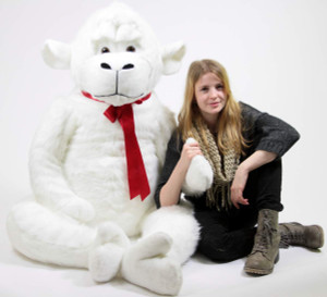 American Made White 6 Foot Giant Stuffed Gorilla 72 Inch Soft Huge Stuffed Monkey