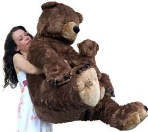 Big Plush Brown Bear Holding Baby Cub Realistic Huge Soft Stuffed Teddy 3 Feet Tall