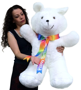 Happy Birthday Giant Teddy Bear 36 Inches Soft, Happy Birthday Neck Ribbon, Made in USA