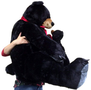 Giant Black Bear with Baby Cub on Belly Unique Big and Soft Realistic Stuffed Animal Three Feet Tall