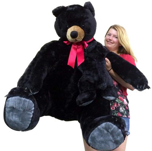 Giant Stuffed Bear Black With Baby Cub Soft Realistic Huge Stuffed