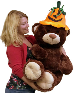 Giant 3 Foot Brown Teddy Bear Wearing Big Plush Pumpkin Hat, 36 Inches
