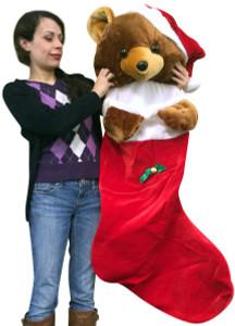 Big Plush Giant 4 Foot Christmas Stocking with Big Stuffed Teddy Bear 48 Inch Soft