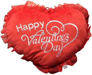 ADD A BIG PLUSH Happy Valentine's Day HEART - WE WILL ATTACH IT TO YOUR STUFFED ANIMAL