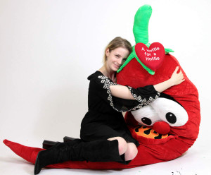 Big Plush Hot Pepper 6 Foot Soft Huge with Heart Says A HOTTIE FOR A HOTTIE