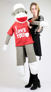 American Made Giant Sock Monkey 54 Inches Wears I LOVE YOU Tshirt Made in the USA America