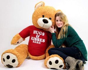 Big Plush Giant Valentine Teddy Bear Five Feet Tall Honey Brown Color Wears Tshirt that says HUGS AND KISSES XOXO