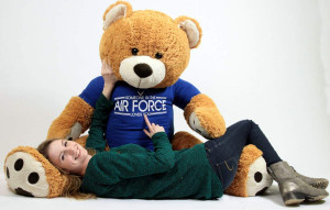 Air Force Giant Teddy Bear 5 Feet Tall,  Wears Removable T-shirt SOMEONE IN THE AIR FORCE LOVES YOU