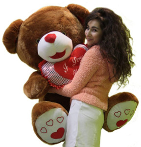 I Love You Giant Brown Soft Teddy Bear Holding Heart Pillow, Enormous Luxurious Plush Animal