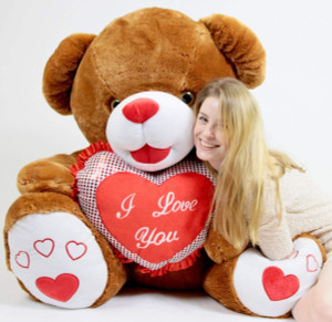 Romantic Giant Brown Teddy Bear 40 inch Soft with Big Plush I LOVE YOU Heart