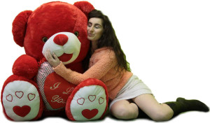 Romantic Giant Red Teddy Bear 40 inch Soft with Big Plush I LOVE YOU Heart